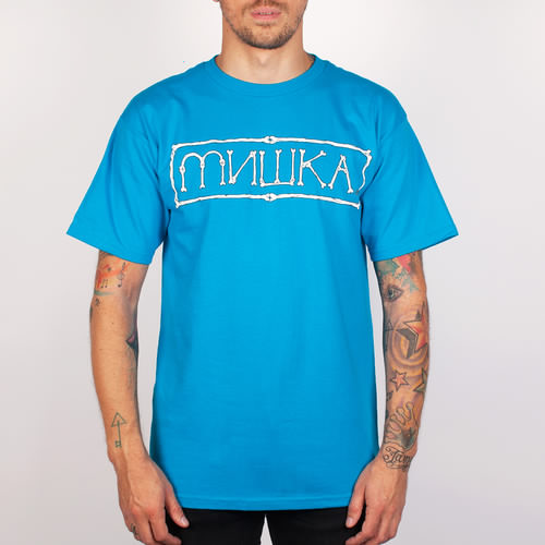 цена на Футболка MISHKA Cyrillic Bones Tee (Turquoise, XL)
