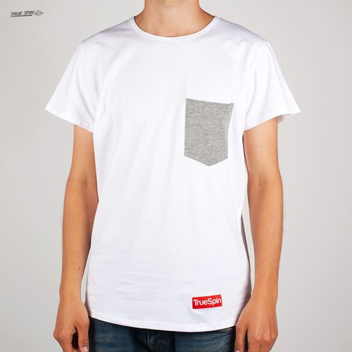Футболка TRUESPIN Basic Pocket Tee (White-Grey, L) color block slit side high low tee with chest pocket