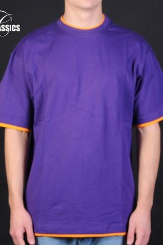 Футболка URBAN CLASSICS Contrast Tall Tee (Purple-Orange, XL)