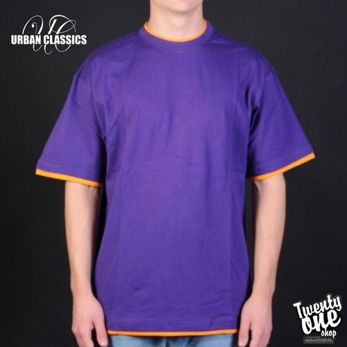 Футболка URBAN CLASSICS Contrast Tall Tee (Purple-Orange, XL)