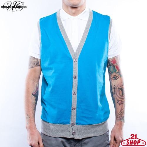 Жилетка URBAN CLASSICS Jersey Button Vest (Turquoise-Grey, S)