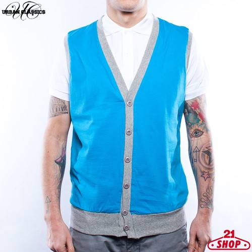 Жилетка URBAN CLASSICS Jersey Button Vest (Turquoise-Grey, S) жилетка urban classics jersey button vest turquoise grey s