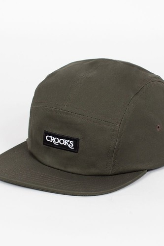 Бейсболка CROOKS & CASTLES Serif 5 Panel Cap (Olive-Drab, O/S)