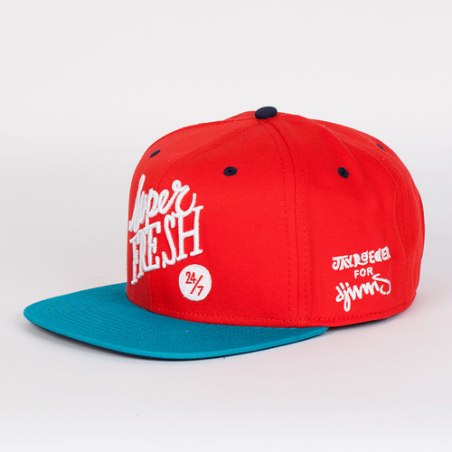 Бейсболка DJINNS Super Fresh 6 Panel Snapback (Red-Turquoise, O/S) бейсболка мишка biters starter sb turquoise o s