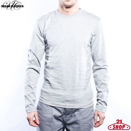 Лонгслив URBAN CLASSICS Basic Tee L/s (Grey, L) жилетка urban classics jersey button vest turquoise grey s