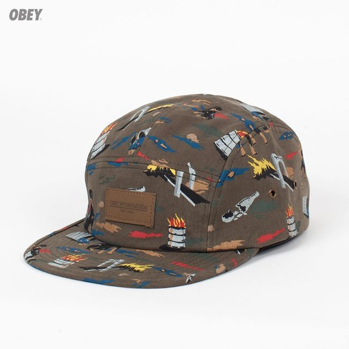 Бейсболка OBEY City Hunting 5 Panel (Dark-Olive, O/S) бейсболка obey ulster 5 panel light brown o s