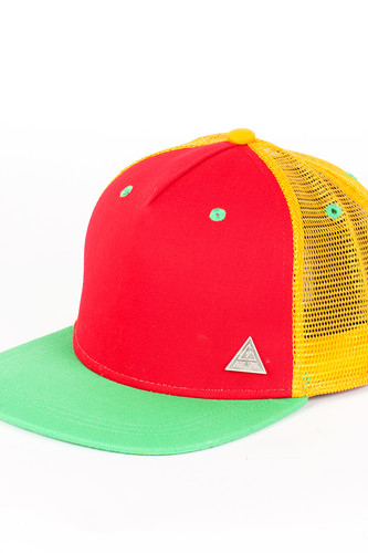 Бейсболка TRUESPIN 3 Tone Blank Trucker Cap (Red-Yellow-Green, O/S) бейсболка truespin 2 tone blank trucker cap heather grey white o s