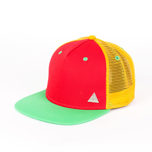 Бейсболка TRUESPIN 3 Tone Blank Trucker Cap (Red-Yellow-Green, O/S)