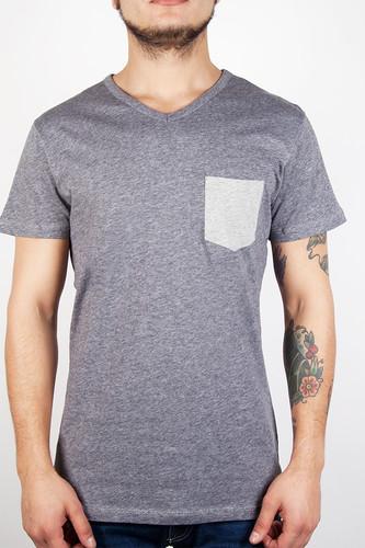 Футболка IRIEDAILY V-Pocket Ringel Tee (Grey-Melange-709, XL) футболка iriedaily come to daddy tee forest melange 441 l