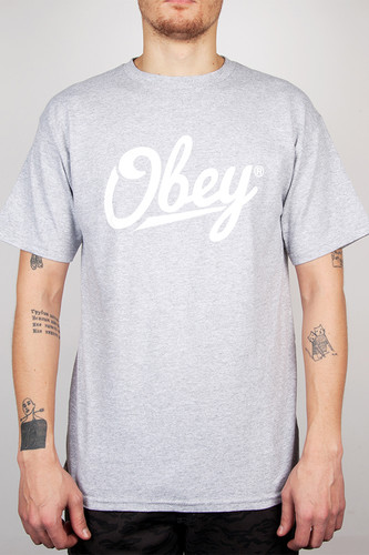Футболка OBEY Jordaan Script (Heather Grey, S) все цены