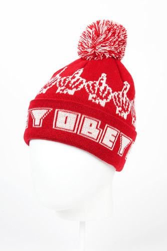 Шапка OBEY Bird Pom Pom Beanie (Red) шапка obey luxury beanie red