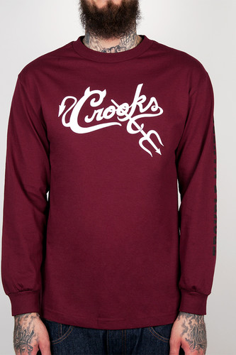 Лонгслив CROOKS & CASTLES Trouble (Burgundy, 2XL) лонгслив crooks