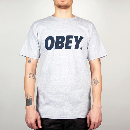 купить Футболка OBEY Font FW14 (Heather Grey/Navy, S) по цене 417 рублей