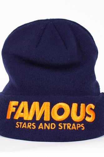 Шапка FAMOUS Fame&simple Beanie (Navy-Orange)