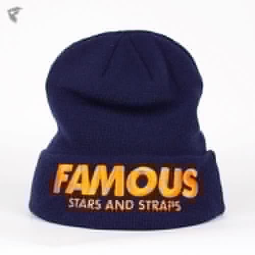 цена Шапка FAMOUS Fame&simple Beanie (Navy-Orange) онлайн в 2017 году