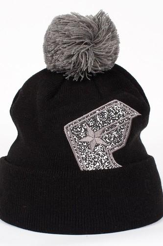 Шапка FAMOUS Flip Slip Beanie (Black-Static-Charcoal)
