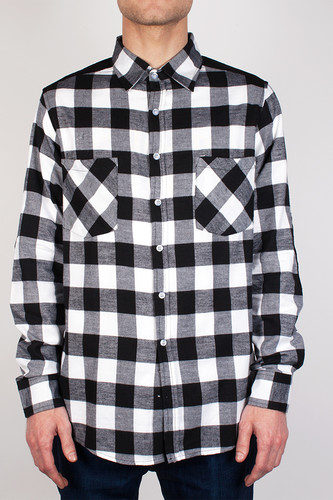 Рубашка URBAN CLASSICS Cord Patched Checked Flanell Shirt (Black/White, L) pocket patched tartan shirt