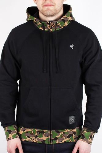 Толстовка FAMOUS Blended Zip Hoodie (Black-Camo, L)