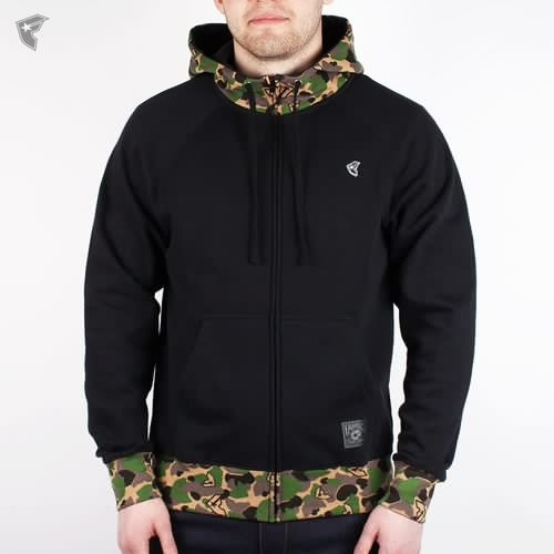 Толстовка FAMOUS Blended Zip Hoodie (Black-Camo, L) camouflage splicing embroidered hooded zip up hoodie