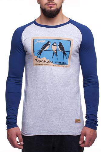 Лонгслив ЗАПОРОЖЕЦ Птицы м2 (Серый/Синий, L) лонгслив запорожец спорт серый черный xs