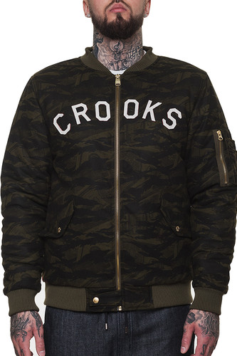 Куртка CROOKS & CASTLES Highest Bomber Jacket (Military Tiger Camo, L)