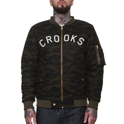 Куртка CROOKS & CASTLES Highest Bomber Jacket (Military Tiger Camo, L) stand collar camo bomber jacket