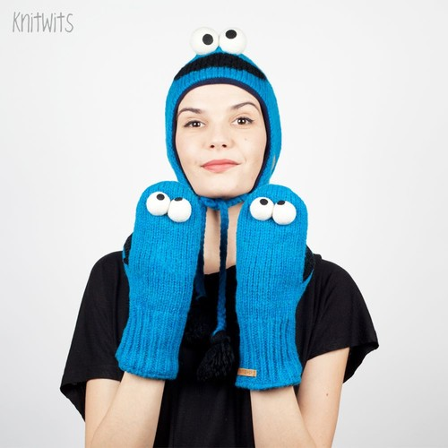 Варежки KNITWITS Cookie Monster (Blue) monster isport strive blue
