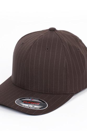 Бейсболка YUPOONG Flexfit Pinstripe (Brown-White, S/M) шапка footwork flexfit yupoong light grey