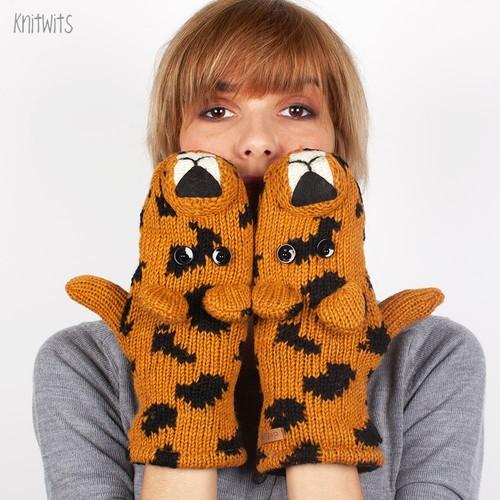 купить Варежки KNITWITS Lenny The Leopard (Tan) по цене 1350 рублей