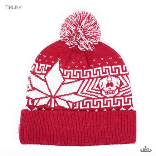 Шапка МИШКА Sweat Leaf Pom Beanie (Red) шапка мишка patterson oversize cuff pom beanie tan