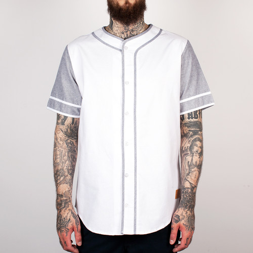 Рубашка CROOKS & CASTLES - Home Team S/S Baseball Top (White/Black, XL) black sexy lace up design plain halter sleeveless crop top