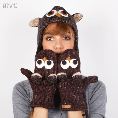 Варежки KNITWITS Ozzie The Owl (Brown)