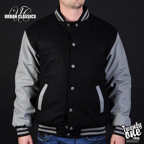 Куртка URBAN CLASSICS Half-Leather College Jacket (Black-Grey, 3XL) куртка urban classics long bomber jacket black 2xl