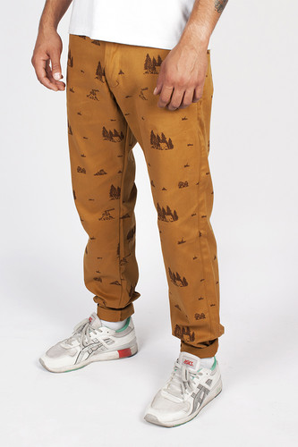 Брюки TURBOKOLOR Chinos Slim-Fit SS14 (Mustard-Camping-Print, 32/32)
