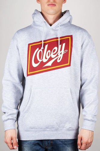 Толстовка OBEY Malt Liquor Hoodie (Heather-Grey, L) футболка obey the shocker heather grey l