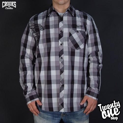 Рубашка CROOKS & CASTLES Bandito Box Plaid (Grey, S) brief low cut plaid print flounced women s cami dress