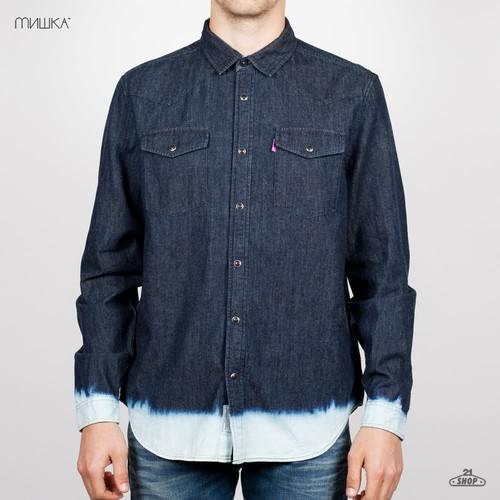 Рубашка MISHKA Frosted Western Snap (Indigo, L) цены онлайн