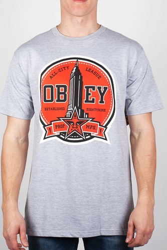 Футболка OBEY All-City League (Heather-Grey, L) футболка obey the shocker heather grey l