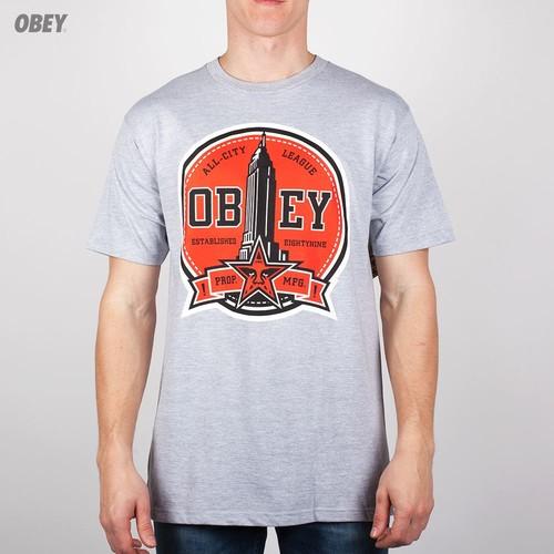 Футболка OBEY All-City League (Heather-Grey, L) футболка obey the shocker heather grey l