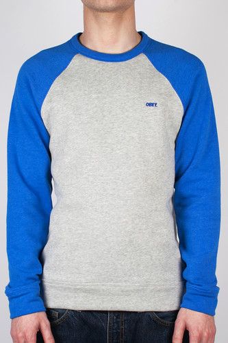 Толстовка OBEY Courtside Crew (Ash-Grey-Victoria-Blue, L) футболка obey youth crew black xl