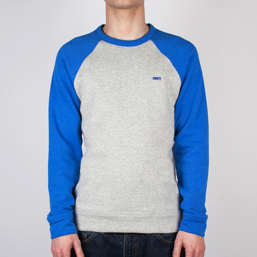 лучшая цена Толстовка OBEY Courtside Crew (Ash-Grey-Victoria-Blue, L)