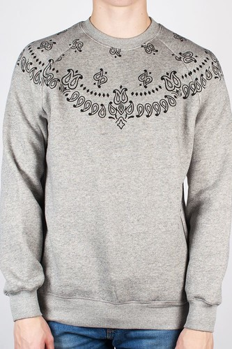 Толстовка CROOKS & CASTLES Squad Life Knit Crew (Speckle-Grey, L) grey ribbed knit slit high low sweater