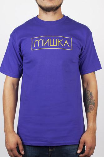 Футболка MISHKA Cyrillic Box Logo Tee (Purple, L)