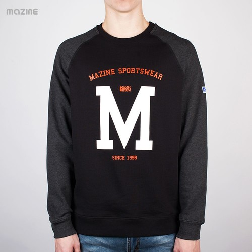 Толстовка MAZINE Male Basic Printed Crewneck 02 (Black-Black-Mel, XL)