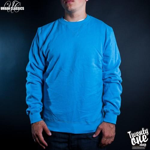 Толстовка URBAN CLASSICS Slim Crewneck Melange (Turquoise, L) жилетка urban classics jersey button vest turquoise grey s