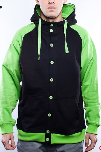 Толстовка URBAN CLASSICS Button Hoody (Black/Limegreen, 2XL)