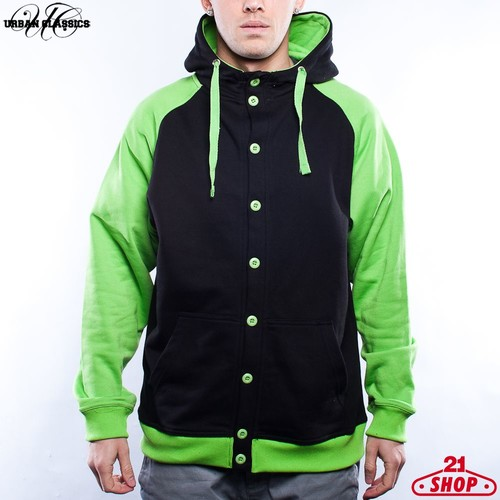 Толстовка URBAN CLASSICS Button Hoody (Black/Limegreen, 2XL) толстовка urban classics ladies oversize 3 tone block hoody blk firered coolpink xl