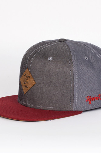 Бейсболка DJINNS Mix Canvas 6 Panel Snapback (Grey-Wine, O/S)