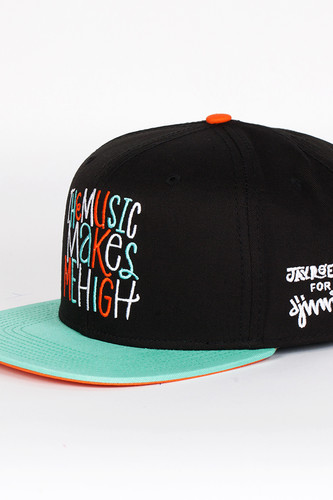 Бейсболка DJINNS Music 6 Panel Snapback (Black-Mint, O/S)