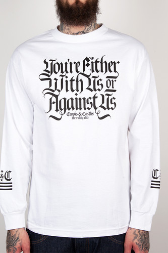 Лонгслив CROOKS & CASTLES With Us Or Against Us (White, L) цена